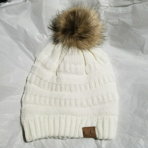69521ade08b84 Accessories - White C.C Beanie Adult Size Beanie with Pom Pom